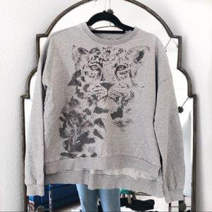 All saints grey leopard cheetah sweatshirt hoodie